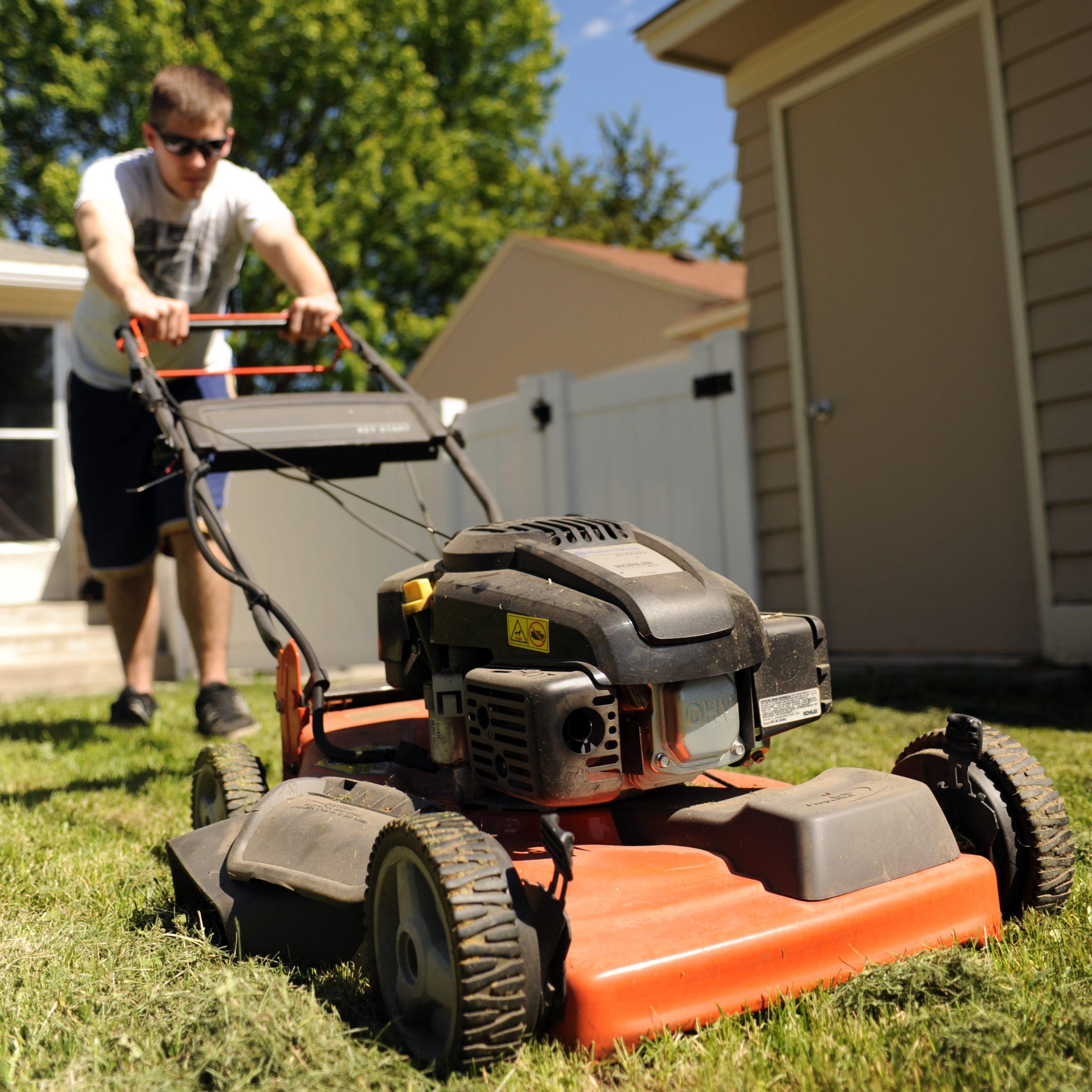 Renter Mowing lawn